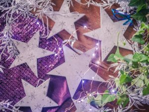 silver wooden stars