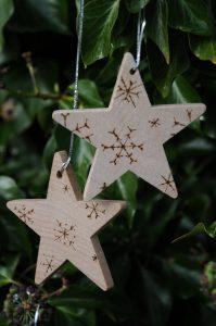 handmade wooden stars