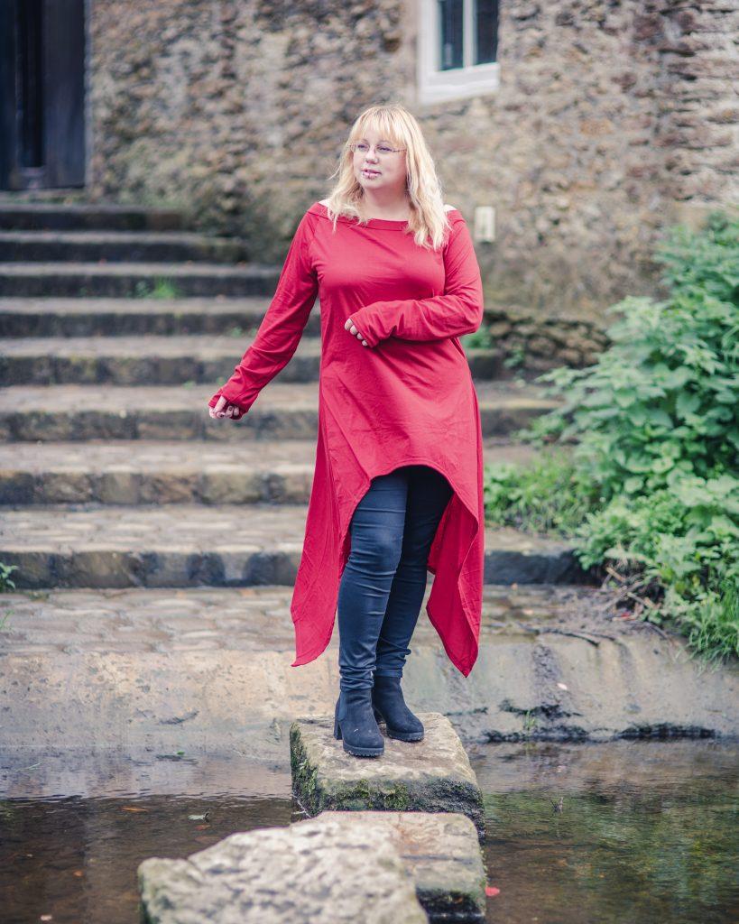 Red pixie hem tunic dress
