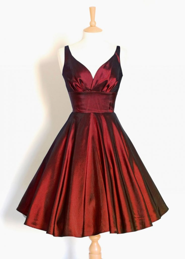 red 1950's taffeta dress