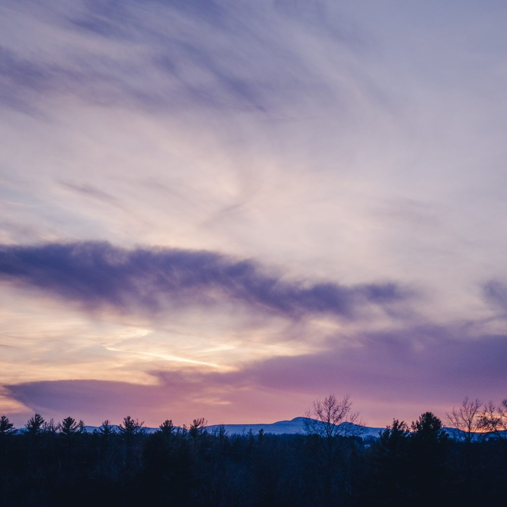 Sunset over the catskill mountains